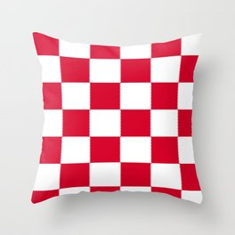 Red and white zig zag checkered artwork Throw Pillow