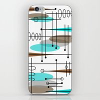 mid century modern iPhone & iPod Skins featuring Mid-Century Modern Atomic Inspired by Kippygirl