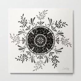 Leaf Mandala – Black & Grey Palette Metal Print