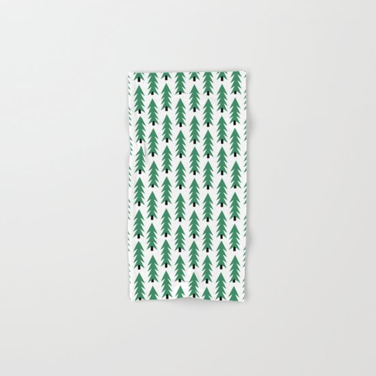 Christmas Tree forest holiday minimal decor festive winter trees green and white Hand & Bath Towel