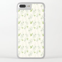 Hand painted watercolor pastel green ivory leaves floral Clear iPhone Case