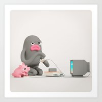 gaming Art Prints featuring Gaming by Rosa the Pig OFFICIAL shop