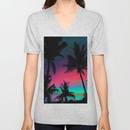 Deep Pink Palm Tree Sunset Unisex V-Neck