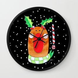 Red Nose Reindeer Wall Clock