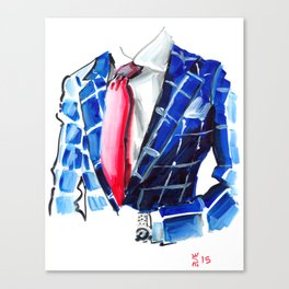 Red Tie and Blue Checkers Canvas Print
