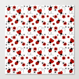 Red Ladybug Floral Pattern Canvas Print