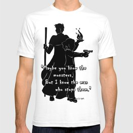 The Man Who Stops Monsters T-shirt