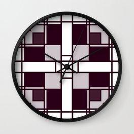 Neoplasticism symmetrical pattern in pinkish gray Wall Clock