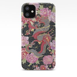 JAPANESE DRAGON & FLORAL KIMONO PRINT iPhone Case