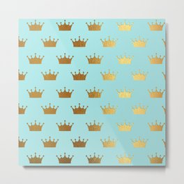 Gold Glitter effect crowns on aqua - Heraldy Pattern for Princesses on #Society6 Metal Print