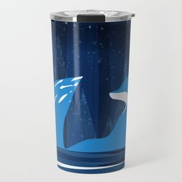 Wintery Blue Forest FOX Design Travel Mug