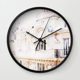 Paris Rooftops Watercolor Wall Clock