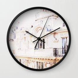 Paris Rooftops Watercolor Wall Clock