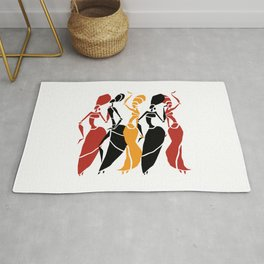 Abstract African dancers silhouette. Figures of african women. Rug