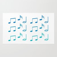 music notes Area & Throw Rugs featuring Music Notes by magnez2