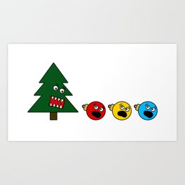 Christmas Tree Chasing Ornament Munchies Art Print