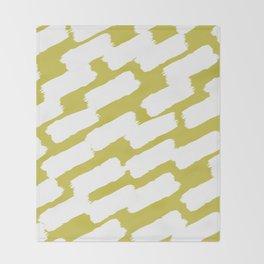 Brushstrokes - Green & White Throw Blanket