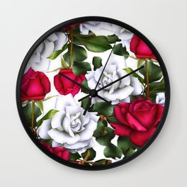 Red & White Roses Wall Clock