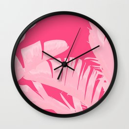 Chill Pink Tropical Banana Leaves Design Wall Clock