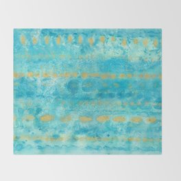 Gold in Deep Turquoise watercolor art Throw Blanket