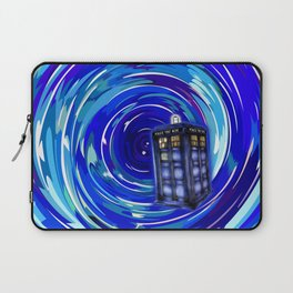 Blue Phone Box with Swirls Laptop Sleeve