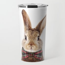 Bunny With Bow Tie, Baby Animals Art Print By Synplus Travel Mug