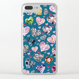Heart Diamonds are Forever Love Blue Clear iPhone Case