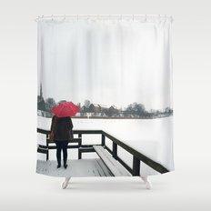 Copenhagen - Red Umbrella Shower Curtain