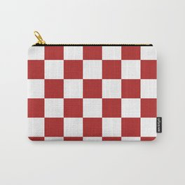 Checkered - White and Firebrick Red Carry-All Pouch