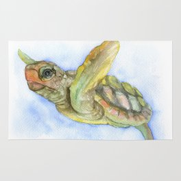 Sea Turtle Watercolor Rug