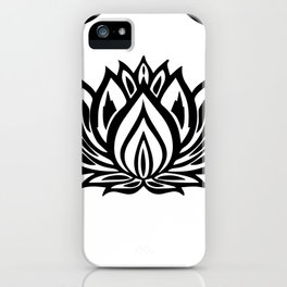 Black and White Lotus Pattern iPhone Case