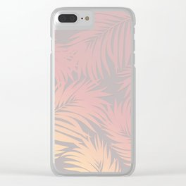 Palm Tree Fronds Peach on Soft Grey Hawaii Tropical Décor Clear iPhone Case