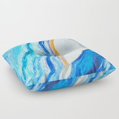 Blue and gold agate Floor Pillow