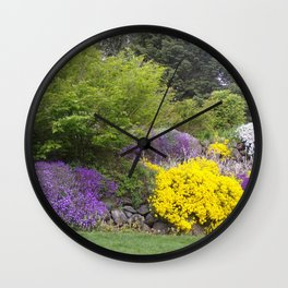 Beautiful Landscape With Purple and Gold Flower, Lush Landscape, Green Wall Clock