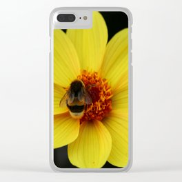 Dahlia  with Bumble Bee Clear iPhone Case