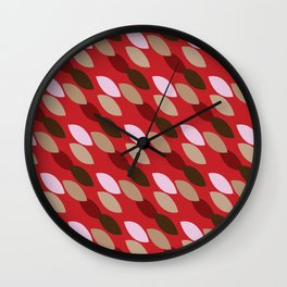 Abstract Leaves (Red): a lively everyday pattern with a retro feel to rev up your day Wall Clock