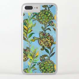 Slider Turtle Pattern by Robert Phelps Clear iPhone Case