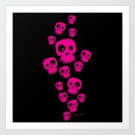 Skulls - Fun - pink/black Art Print