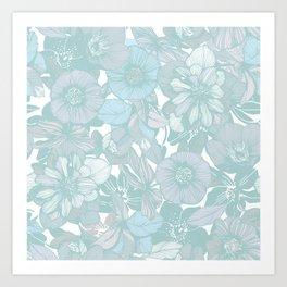 Hellebore lineart florals | bright Art Print