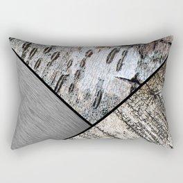 Birch Bark and Digital Brushed Silver Metal Rectangular Pillow