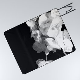 White Orchids Black Background Picnic Blanket