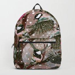 Pink Winter Bird pattern  Backpack