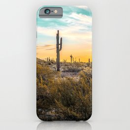 Desert Sunrise // Saguaro Cactus Summer Sun Arizona Nature Landscape Teal Blue Green Sky iPhone Case