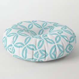 Aqua and Gray Retro Abstract Geometric Pattern Floor Pillow