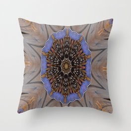Blue Brown Kaleidoscope Retro Groovy Image Throw Pillow