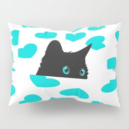 Kitty on Blanket with Hearts Pillow Sham