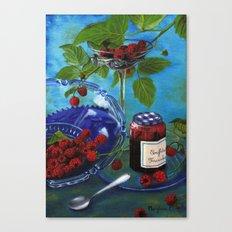 Still-life with raspberries Canvas Print