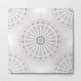 Blush Taupe Geometric Mandala Metal Print