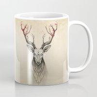 deer Mugs featuring Deer tree by Rafapasta