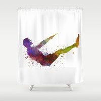 fitness Shower Curtains featuring Man exercising workout fitness  by Paulrommer